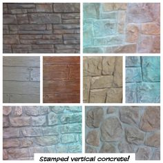 Vertically Stamped Concrete. It can go over drywall, wood, rigid insullation, block etc… It is also fireproof and can be made waterproof www.tomaroconstruction.com