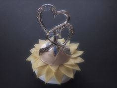 Wedding Cake Topper Silver Heart Pastel Yellow 80 flower colors & 50 glass bead colors available  by ArtisanFeltStudio on Etsy