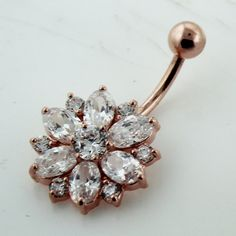 Handmade Rose Gold Plating Double Layer CZ Stone 925 Sterling Silver with Stainless Steel Belly Bars , Navel Button Rings Belly Button Piercing Jewelry, Cute Piercings, Ear Piercings Cartilage, Tongue Piercings, Navel Piercing, Peircings, Cartilage Earrings, Cute Belly Rings, Belly Button Rings