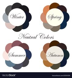 Neutral colors seasonal color analysis palettes Vector Image Source by chelabs ideas autumn Deep Autumn Color Palette, Soft Summer Palette, Deep Winter Colors, Summer Colors, Dark Autumn, Dark Winter, Color Me Beautiful, Wardrobe Color Guide, Winter Typ