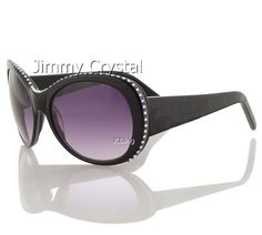 399bf924dad Fancy Black Frame Lady s Crystal Sunglasses GL899 Shown with Chalk White  and Purple Velvet Crystals