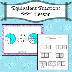 Equivalent Fractions Power Point lesson. Comes with 37  slides and 4 worksheets. Can be used whole group with any interactive whiteboard.  Students may work independently on a computer.Use the worksheets before, during, or after students view the PPT. Simone's Math Resources