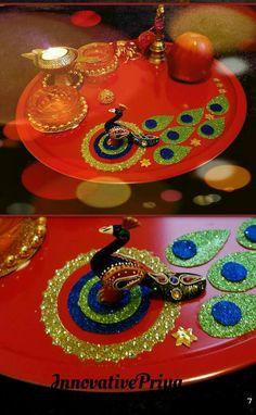 Diwali Party, Diwali Diy, Diwali Craft, Diy Diwali Decorations, Festival Decorations, Art N Craft, Craft Work, Arti Thali Decoration, Ganesh Chaturthi Decoration