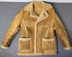 c1b6543a576eb SCHOTT LEATHER Jacket Vtg Rancher Skeepskin Shearling Sherpa Marlboro Man  Coat #Schott #Rancher Man