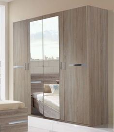 Germanica BAVARI Bedroom Furniture 4 Door Wardrobe in LIGHT OAK ...