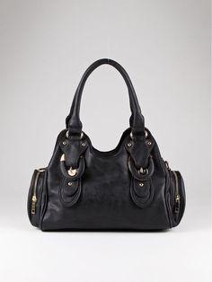 Beautiful Black Leatherette Shoulder Bag w/Dual Buckle Design Accents! #Unbranded #ShoulderBag