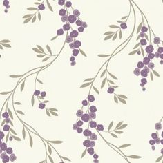 Rosanna Heather (408401) - Arthouse Wallpapers - A pretty stylised weeping blossom design - shown here in shades of purple on a metallic leaf trail. Please request sample for true colour match.