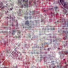 """""""Beijing map"""" Malerei von Map Map Maps jetzt als Poster, Kunstdruck oder Grußkarte kaufen.."""