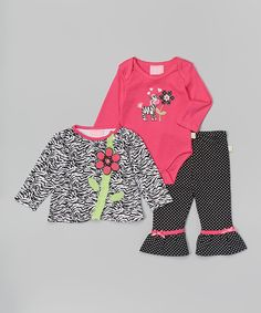 Look at this Duck Duck Goose Black & Pink Zebra Flower Bodysuit Set - Infant on #zulily today!