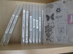 How to store cling stamps I love clear stamps – they are much cheaper than the wooden mounted ones and easier to use. The clear block and stamp means I can put the stamp exactly where I want without any fiddling. Scrapbook Storage, Scrapbook Organization, Craft Organization, Scrapbook Rooms, Scrapbook Supplies, Scrapbook Stickers, Organizing Tips, Scrapbooking Ideas, Diy Dvd Storage