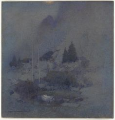 J.W. TRISTRAM Sydney, New South Wales, Australia 1872 – 1938  not titled  [Moonlit landscape]  [(Nocturne - waterhole, hillside, pine trees)] 1920 watercolour image 36.8 h x 35.2 w cm  The Oscar Paul Collection, Gift of Henriette von Dallwitz and of Richard Paul in honour of his father 1965. Accession No: NGA 65.92