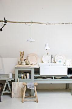 Styling Cleo Scheulderman | Photographer Jeroen van der Spek | vtwonen februari 2014 #vtwonen #magazine #interior #colour #inspiration #pastel #soft #kitchen #dishes