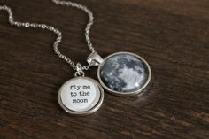 Fly Me To The Moon Necklace  Glass Dome Full by Chillilimeboutique