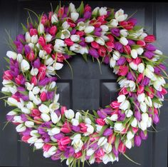 24 inch Pink and Purple Tulip Wreath Spring by elegantholidays, $85.00