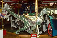 T-Rex Carousel Animal - Patee Museum St Joseph Mo, Carosel Horse, Amusement Park Rides, Carnival Rides, Pretty Animals, Wooden Horse, Painted Pony, Merry Go Round, Fantasy