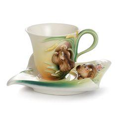Safari Jungle Beauties hippo/baby porcelain cup/saucer set