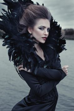 Queen of ravens by Maria Daranova, via Behance. Maybe get rid of the feathers