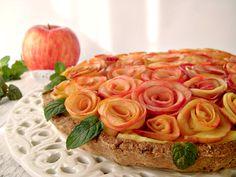 Crostata+senza+zucchero+con+rose+di+mela+#Ancorapiùbuono