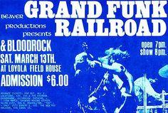 Grand Funk Railroad - Loyola Fieldhouse - 1971 Concert Poster