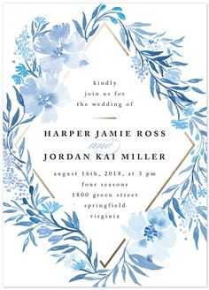 Poetic blue watercolor wedding invite from @Minted