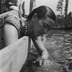 Frida in #Xochimilco, #Mexico I love this pic of Frida.  Almost all her portraits and photographs illustrates her emotional and physical pain, yet in this photograph, you can see how she is enjoying and cherishing the freshness of soothing fresh water. For a moment she is refreshed.