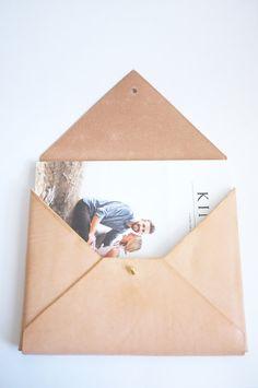 Leather Envelope Clutch by ODSYworkshop on Etsy, $150.00