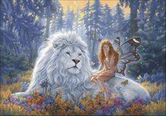 Lion Diamond Painting Cross Stitch Unfinished Home Decor Needlework Craft Diamond Embroidery Full Square Rhinestone Mosaic Fairy Fantasy Artwork, Birth Art, Photo Chat, Fantasy Kunst, Love Fairy, Beautiful Fairies, Beautiful Lion, Fairy Art, Magical Creatures