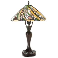 Tiffany-style White Flower Table Lamp (Off-White (Beige) - Copper Finish) (Glass)