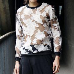 Fashion Flower Print See-Through Round Neck Long Sleeve Loose Fit Organza Sweatshirt For Men, BLACK, L in Hoodies | DressLily.com