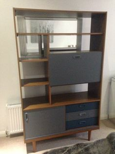 Upcycled retro 1970s Schreiber shelf unit on Gumtree. Immaculate upcycled 1970s Schreiber shelf unit. Hand painted using Habitat and Farrow and Ball prod
