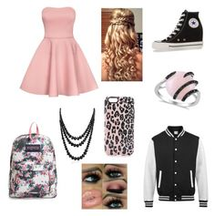 cute day by jordyn-m-richards on Polyvore featuring polyvore fashion style Converse JanSport Allurez Bling Jewelry Sonix clothing