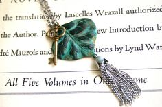 Verdigris Patina Leaf Necklace Oxidized Chain by orangejuniper, $34.00