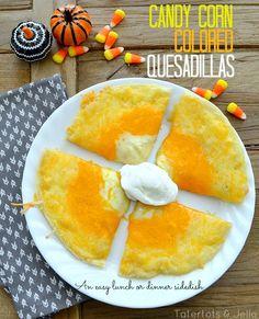 super easy snack idea - candy corn quesadillas at tatertots and jello
