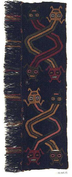Embroidered Border Fragment  Date:4th–3rd century B.C. Geography:Peru Culture:Paracas Medium:Camelid hair, cotton Accession Number:33.149.15