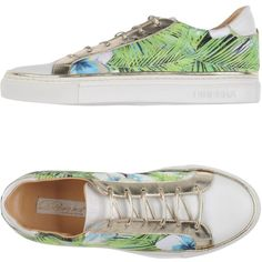 Dibrera By Paolo Zanoli Low-tops & Sneakers ($300) ❤ liked on Polyvore featuring shoes, sneakers, green, animal trainer, leather sneakers, green leather sneakers, floral shoes and floral print shoes