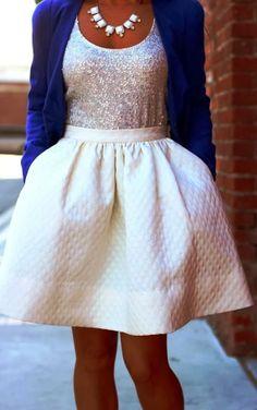 White mini sequins dress fashion with blue blazer | Glamrous fashion