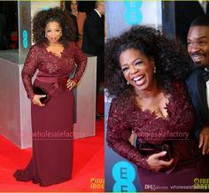 Plus Size Mother of the Bride Dresses V Neck Long Sleeve Appliques Lace Sheath Oprah Winfrey Celebrity Red Carpet Evening Gowns BO6383, $113.71 | DHgate.com