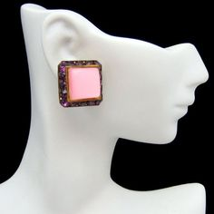 Mid Century Pink Thermoset Purple Rhinestone #Vintage Earrings. These 60s glamorous clip earrings are an awesome way to make a statement! The color and quality is great. Shop all of our jewelry today! #MyClassicJewelry https://www.etsy.com/shop/MyClassicJewelry