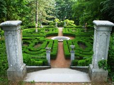 The low hedge maze at Watson's Landing opens around a three-tiered fountain, and there are flowers planted on either side of each hedgerow, but this is similar.
