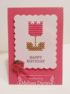 Sweet Threads Card Kit created by Melissa Davies @ rubberFUNatics Cross Stitch Cards, Cute Cross Stitch, Cross Stitch Embroidery, Cross Stitch Patterns, Happy Birthday Melissa, Handmade Birthday Cards, Handmade Cards, Card Kit, Birthdays