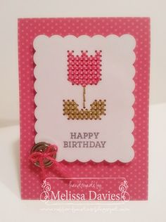 "cute cross stitch card from Stampin' Up ""Simply Sent"""