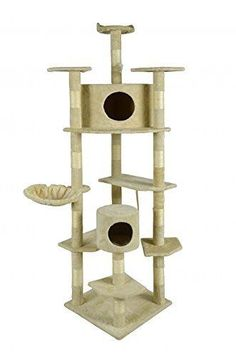 80-Cat-Tree-Furniture-Scratching-Post-Pet-Kitten-Play-House-Tower-Large-Beige