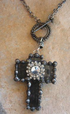 Soldered Black Rhinestone Lace Cross