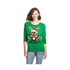 Oh Deer Ugly Christmas Sweater Green ($28) ❤ liked on Polyvore featuring tops, sweaters, green, green sweater, green top, christmas sweater and christmas tops