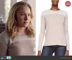 Juliette's pink sweater with fleece panel on Nashville.  Outfit Details: http://wornontv.net/48014/ #Nashville