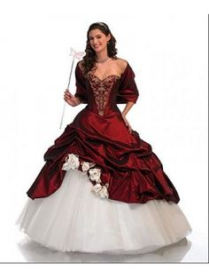 Red and White Princess Gothic Wedding Dress