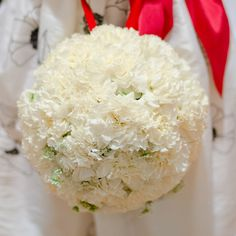 Bridal party -- white carnation bouquets