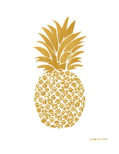 Gold Pineapple Print Art Print Tropical Island by prettychicsf