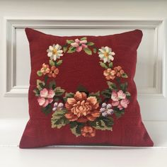 Handmade floral garland needlepoint cushion cover, red upcycled vintage needlepoint by KindredClassics on Etsy Cushion Inserts, Floral Garland, Upcycled Vintage, Hand Stitching, Needlepoint, Upholstery, Cushions, Throw Pillows, Cover