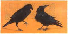 Ravens, pastel on monotype by Sylvia Gonzalez